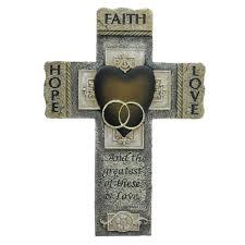 iron wall cross love: faith hope and love marriage cross  inch