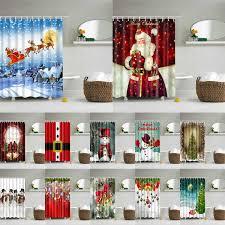 <b>Christmas Printed</b> Shower Curtain For Bathroom Bathtub Curtains ...