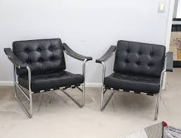 iconic mid century black leather chrome lounge chairs by karl thut for stendig black leather mid century