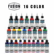 FUSION Tattoo Ink <b>16 Colors</b> Set 1 oz <b>30ml</b>/Bottle Tattoo inks ...
