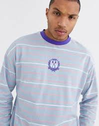 ASOS DESIGN oversized <b>long sleeve stripe</b> t-shirt with chest ...