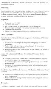 resume templates inventory control specialist inventory specialist resume