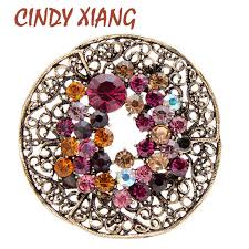 <b>CINDY XIANG</b> Large Crystal Leaf Brooches for Women Vintage ...