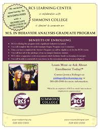 employment opportunities rcs consultingrcs consulting are you interested in receiving your masters in behavior analysis from simmons college at an extremely reduced cost out traveling into boston