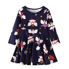 <b>2 8T</b> Spring <b>Flower</b> Elves <b>Print</b> Kids Children Girl Dress Long Sleeve ...