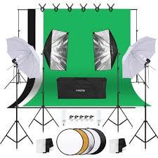 Andoer Photography Kit 1.8m*2.7m Black White Green Cotton ...