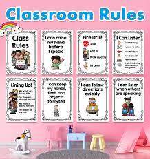 <b>20Pcs</b> English Classroom Rules Kindergarten A4 <b>Posters Paintings</b> ...