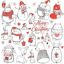 set with cute winter <b>cartoon animals</b>. vector illustration | Christmas ...