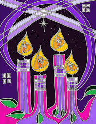 graphic of four purple candles in and advent wreath