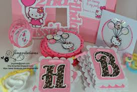 hello kitty birthday party invitations banner cupcake toppers image