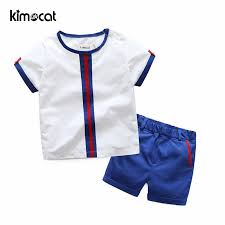Kimocat <b>Summer Childrens Clothing</b> Sets Short Sleeve Cotton Navy ...