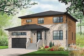 Modern House Plans  Contemporary Home Plans from    Pandora Large Modern House plan  bedrooms  open floor plan layout  large pantry