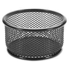 lorell round mesh paper clip holder black newell office depot