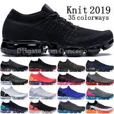 2019 Nike VAPORMAX <b>FLYKNIT</b> Bred Triple Black Multi Color 2.0 ...