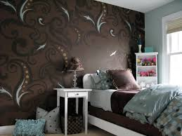 f astonishing small teens bedroom decorating ideas with cool brown wallpaper designs and white finish small wooden nightstand under brown patterned cones astonishing cool furniture teens