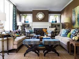 ideas yellow living rooms blue