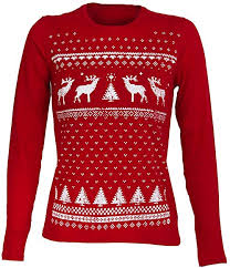 Retro Christmas Reindeer <b>Long sleeved</b> top - <b>Womens</b> - <b>Deep</b> Red ...