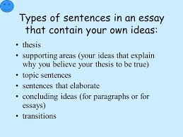 the building blocks of writing each of the sentences in an essay  types of sentences in an essay that contain your own ideas thesis supporting areas