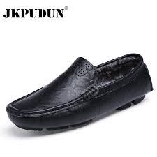 JKPUDUN <b>Plus Size 38 48</b> Winter Men Loafers Genuine Leather ...