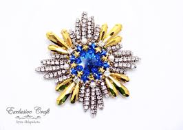 "Handmade beaded brooch ""<b>Imperator</b>"" with Swarovski – Exclusive ..."