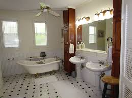 bathroom design beige curtains wainscoting double pedestal sink vanity with rectangular mirror vanity