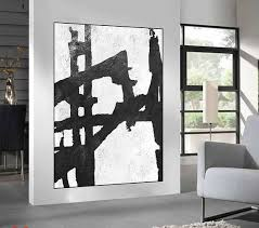 <b>large acrylic</b> painting on canvas, black and <b>white Abstract</b> painting ...