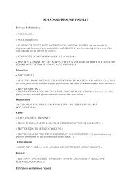standard resume format templates com standard resume template best template collection j2lwukhk