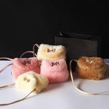 Canis - <b>Fashion Girls Kids Purse</b> Bowknot Mini Artificial Fur ...