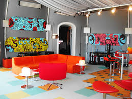 creative living room ideas design:  cozy creative living room seating ideas red leather modern swivel chair orange fabric loveseats clorful damask