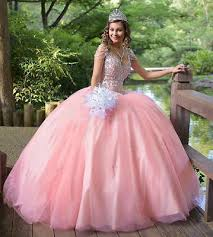 2019 New <b>Pink Crystal</b> Beaded Ball Gown Quinceanera Dresses V ...