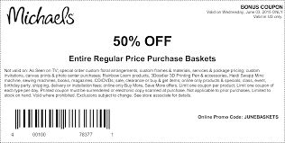 michaels coupons printable coupons in store coupon codes print out the coupon and present it at michaels arts and craft stores for a 50% discount on regular priced baskets