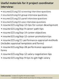 top  it project coordinator resume samples       useful materials for it project coordinator