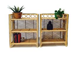 vintage rattan bookcase bamboo pair matching set bohemian furniture boho shelving collapsible 3 tiered shelf boho baja surfer storage set bamboo furniture