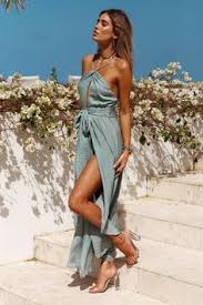 Sexy Solid Color <b>Side Split Backless</b> Boho Maxi Dress in 2019 ...