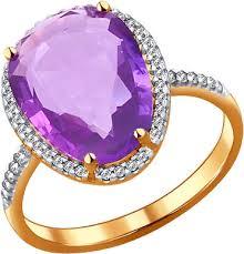 Золотое <b>кольцо SOKOLOV</b> 713991_s с аметистом, фианитами ...