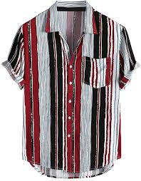 <b>Men</b> Retro <b>Turn Down Collar</b> Shirt Printed Short Sleeve Loose ...