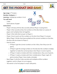 math games using dice get the product game sheet 1