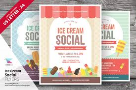 ice cream social flyer templates flyer templates on creative market
