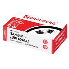 <b>Зажимы для бумаг BRAUBERG</b>, КОМПЛЕКТ 12 шт., 25 мм, на 100 ...