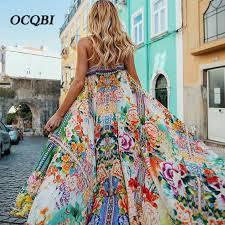 <b>2019 Women</b> Summer Sexy <b>Bohemian</b> Beach Dresses Casual Party ...