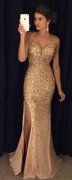 Luxury <b>Gold</b> Mermaid Prom Dresses Sleeveless Front Split <b>Crystals</b> ...