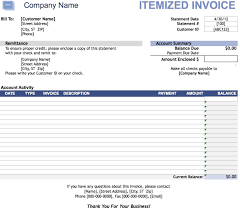 itemized invoice template excel pdf word doc