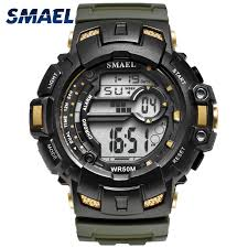 <b>LED Digital Wrsitwatches</b> 1532A <b>SMAEL</b> Army Green Clocks Men S ...
