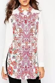 Vintage Print <b>Turn Down Neck Long</b> Sleeve Shirt | Fashion clothes ...
