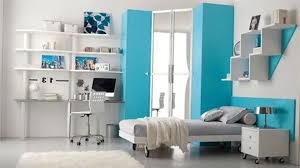 white wooden single bed with gray sheet combined f study table and shelves on the blue bedroomastonishing solid wood office