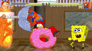 spider man and spongebob squarepants vs evil homer and human torch spider man and spongebob squarepants vs evil homer and human torch in a mugen match battle fight epicgaminggalaxyineffablehdcontent