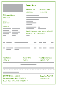 quality standards visual invoice sample