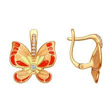 Позолоченные <b>серьги</b> с <b>бабочкой SOKOLOV</b> – купить в ...