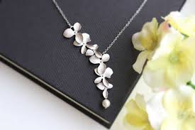 <b>Todorova</b> Orchid Flower with Simulated Pearl Necklace Pendant ...