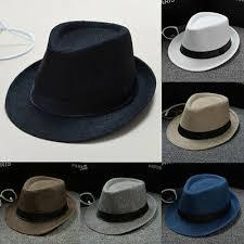 <b>US Classic Mens Women</b> Straw Fedora Hat Wide Brim Panama Hat ...